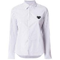 Comme Des Garçons Play Camisa Listrada Com Logo - Azul