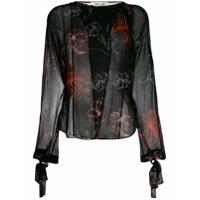 Dvf Diane Von Furstenberg Blusa De Seda Com Bordado Floral - Preto