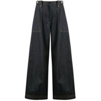Ports 1961 Calça Pantalona Cintura Alta - Azul