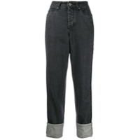 Kappa Calça Jeans Boyfriend Com Logo - Preto