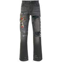 Faith Connexion Calça Jeans Com Bordado - Cinza