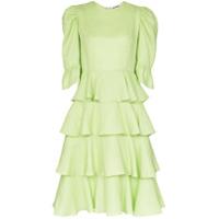 Batsheva Vestido Midi Com Babados - Verde