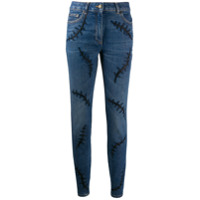 Moschino Calça Jeans Skinny Cintura Média Com Bordado - Azul