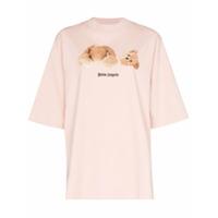 Palm Angels Camiseta Com Estampa De Urso - Rosa