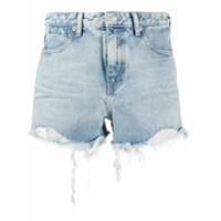Alexander Wang Short Jeans Com Acabamento Desfiado - Azul