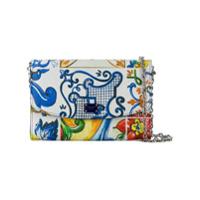 Dolce & Gabbana Bolsa Floral De Couro Com Corrente - Branco
