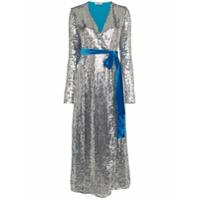Attico Vestido Midi Com Paetês - Azul