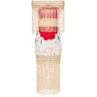 One Vintage Vestido Com Bordado Floral E Franjas - Estampado