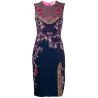 Versace Collection Vestido Slim Com Estampa Floral - Roxo