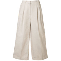 Racil Calça Pantalona Risca De Giz - Neutro