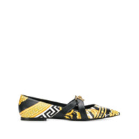 Versace Sapato Flat Com Estampa Savage Barocco - Preto