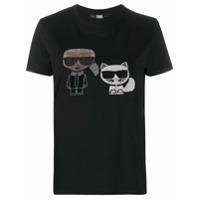 Karl Lagerfeld Camiseta Mangas Curtas Com Aplicação De Strass - Preto