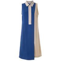 Mara Mac Vestido Midi Bicolor - Azul