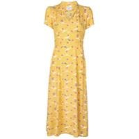 Hvn Vestido Com Estampa Com Pássaros - Amarelo