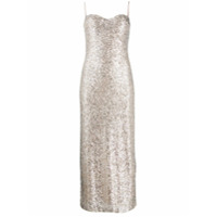 Galvan Sequin Fitted Slip Dress - Neutro