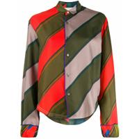 Rohka Camisa Com Listras E Botões - Verde