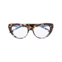 Cutler & Gross Armação De Óculos Gatinho Com Efeito Tartaruga - Marrom