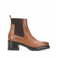 Santoni Ankle Boot Com Recorte De Tecido - Marrom