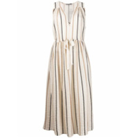 Three Graces Vestido Midi Solaine Listrado - Neutro