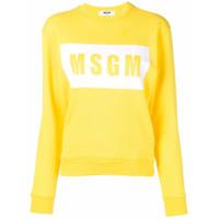 Msgm Moletom Com Estampa De Logo - Amarelo