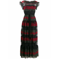 Red Valentino Vestido Longo Com Estampa Floral - Preto