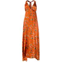 Seren Vestido Longo Floral - Laranja