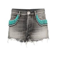 Alanui Short Jeans Com Franjas - Cinza