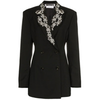 Rotate Diamanté Embroidered Lapel Blazer - Preto