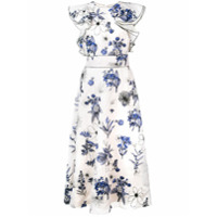Lela Rose Floral Print Ruffle Dress - Branco