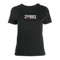 Tommy Jeans Moletom Com Logo Bordado - Preto