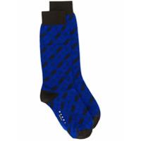 Marni Par De Meias Com Xadrez Diagonal - Azul