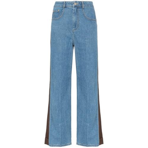 SJYP Calça jeans flare com recortes - Azul