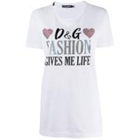 Dolce & Gabbana Camiseta Com Aplicação De Strass - Branco