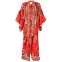 Camilla Kimono Com Estampa Floral - Vermelho