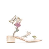 René Caovilla Sandália Com Aplicação Floral - Neutro