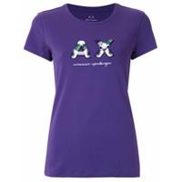 Armani Exchange T-Shirt Com Logo Bordado - Roxo