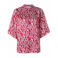 Lanvin Camisa De Seda Com Estampa De Logo - Vermelho