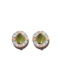 Pomellato Par De Brincos De Ouro Rosé 18K Com Diamante E Peridoto - Green
