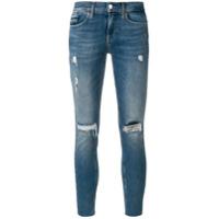 Calvin Klein Jeans Calça Jeans Cropped Rasgada - Azul