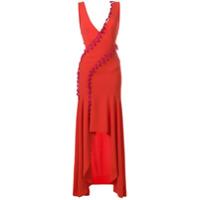 Galvan Vestido Com Fenda - Vermelho