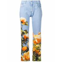 Msgm Calça Jeans Reta Com Estampa Floral - Azul