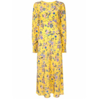 Les Reveries Vestido De Seda Com Estampa Floral - Amarelo