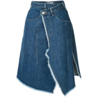 Ground Zero Saia Jeans Envelope Assimétrica - Azul