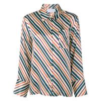 Asceno Blusa De Pijama De Seda Com Listras Diagonais - Branco