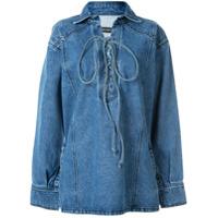 Pony Stone Camisa Com Abertura Na Gola - Azul