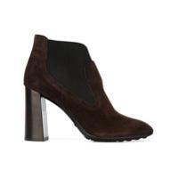Tod's Ankle Boot De Couro Com Salto Largo - Marrom
