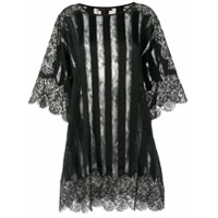 Amen Sheer Striped And Lace Trimmed Oversized Top - Preto