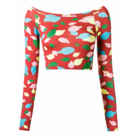 Isolda Top Cropped Estampado - Vermelho
