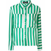 Anna October Camisa Oversized Com Listras - Verde