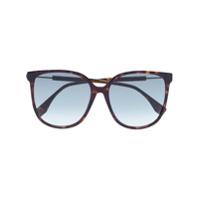 Fendi Óculos De Sol Com Logo E Efeito Tartaruga - Marrom